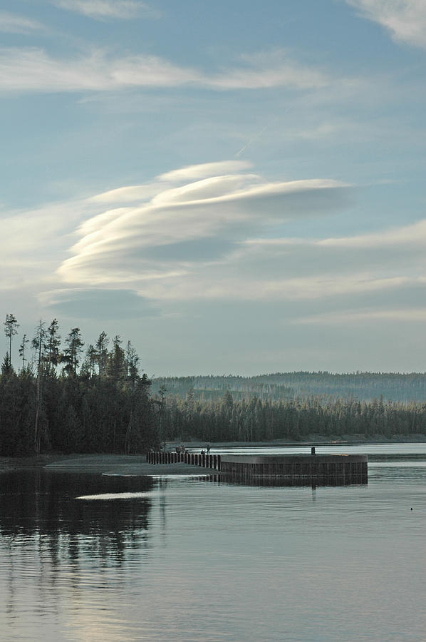 Landscape Photograph - Wave Clouds Over Yellowstone Lake by Deni Dismachek
