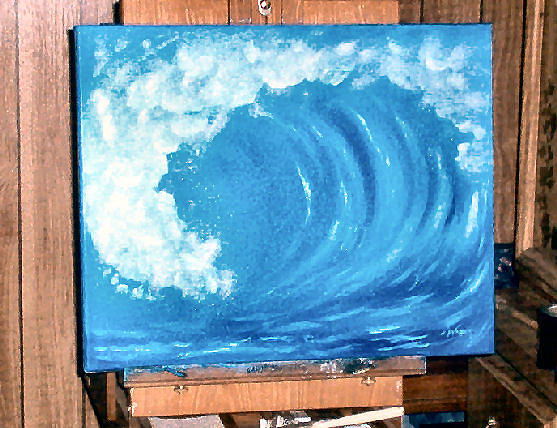 Water Painting - Wave Curl by Nancy Waller