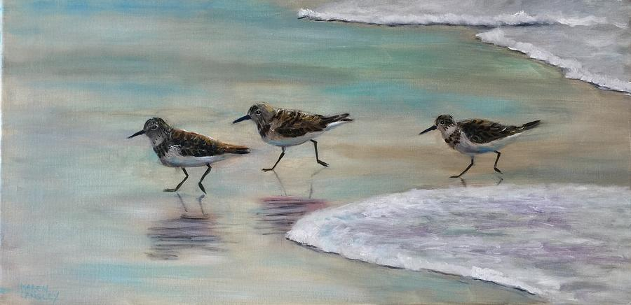 Sand Pipers Painting - Wave Runners by Karen Langley