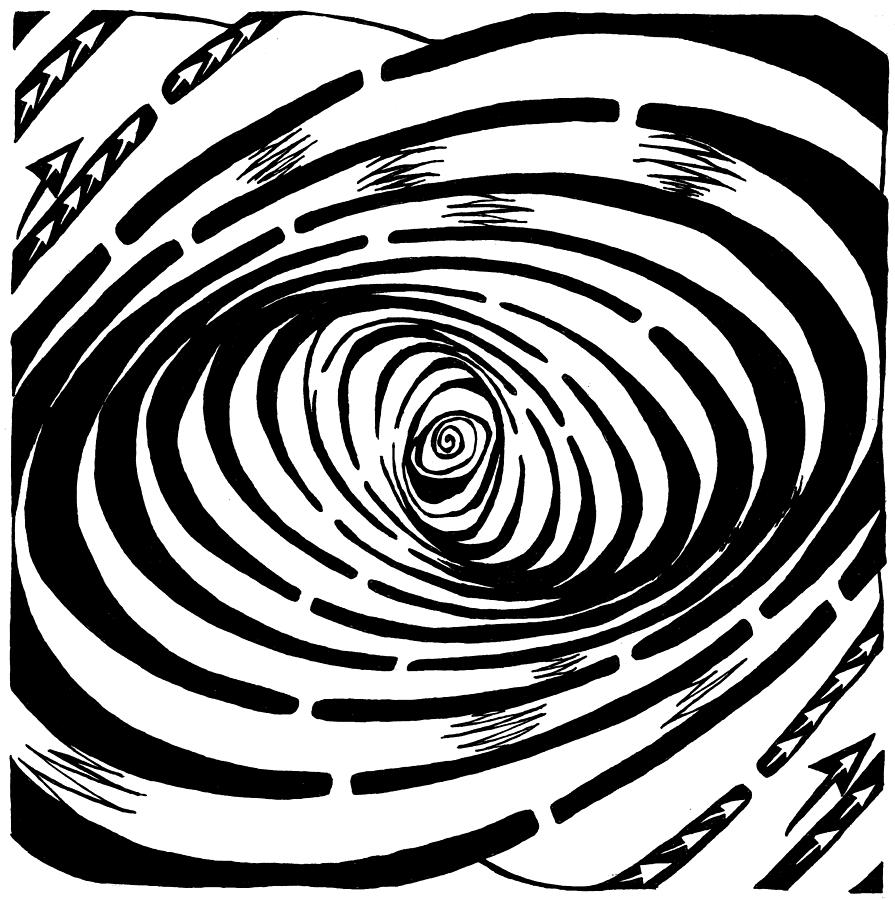Wave Drawing - Wave Swirl Maze by Yonatan Frimer Maze Artist