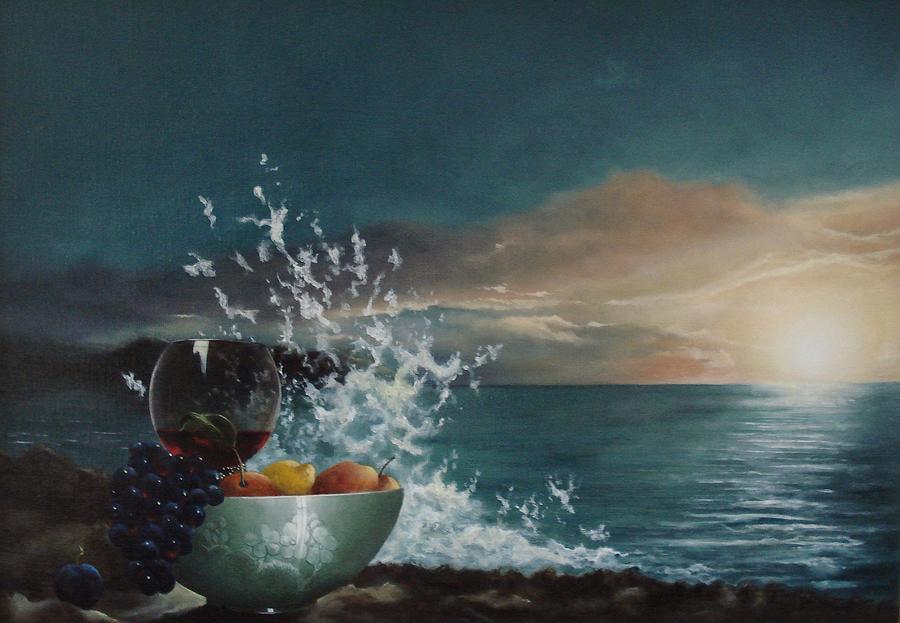 Seascape Painting - Wave by Tjerk Reijinga