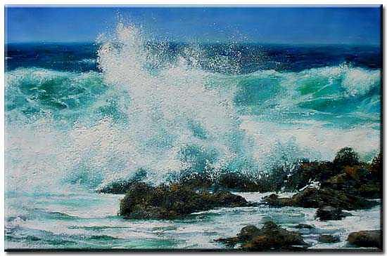 Seascape Painting - Wave3 by Yvonne Yu