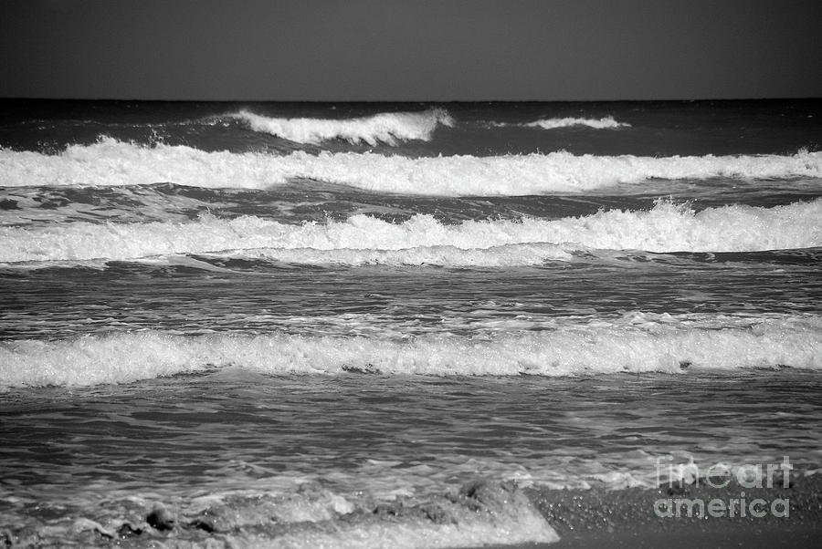 Waves Photograph - Waves 3 In Bw by Susanne Van Hulst
