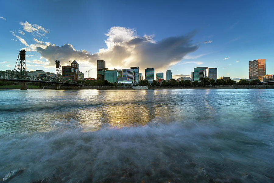 Willamette River Photograph - Waves Along Willamette River In Portland Oregon by David Gn