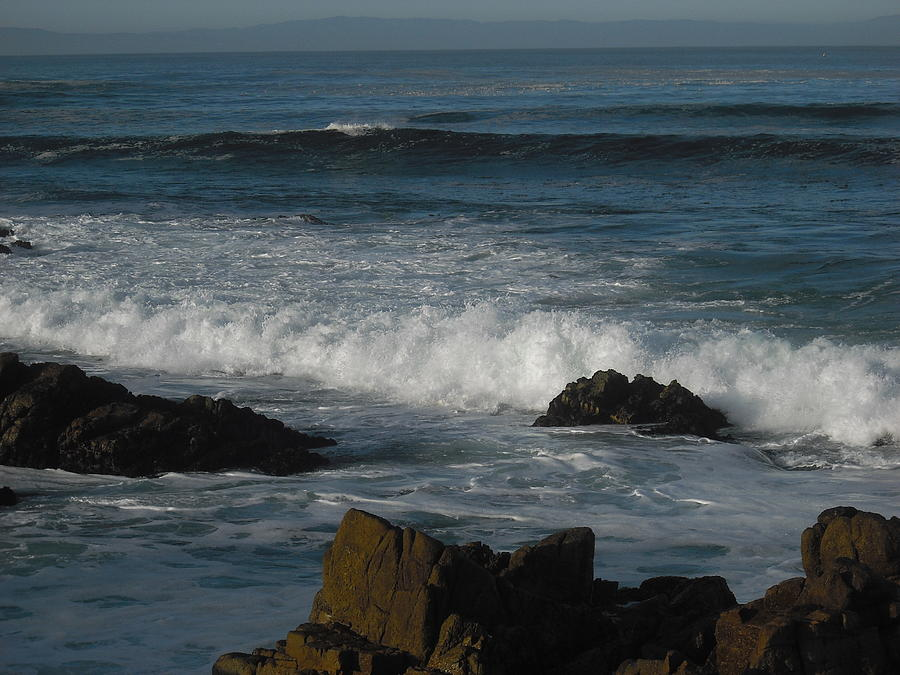 Ocean Photograph - Waves And Rocks by Sharon McKeegan