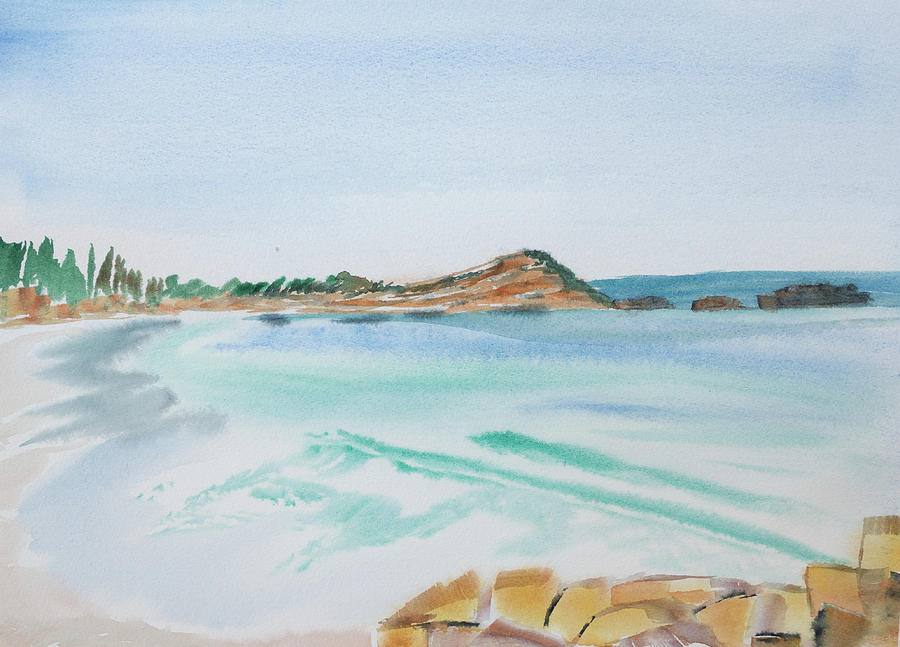 Tasmania Painting - Waves Arriving Ashore in a Tasmanian East Coast Bay by Dorothy Darden