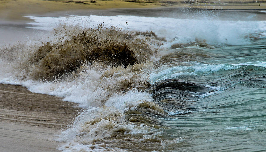 Waves Churning the Sand at Sand Beach, Maine by Marilyn Burton