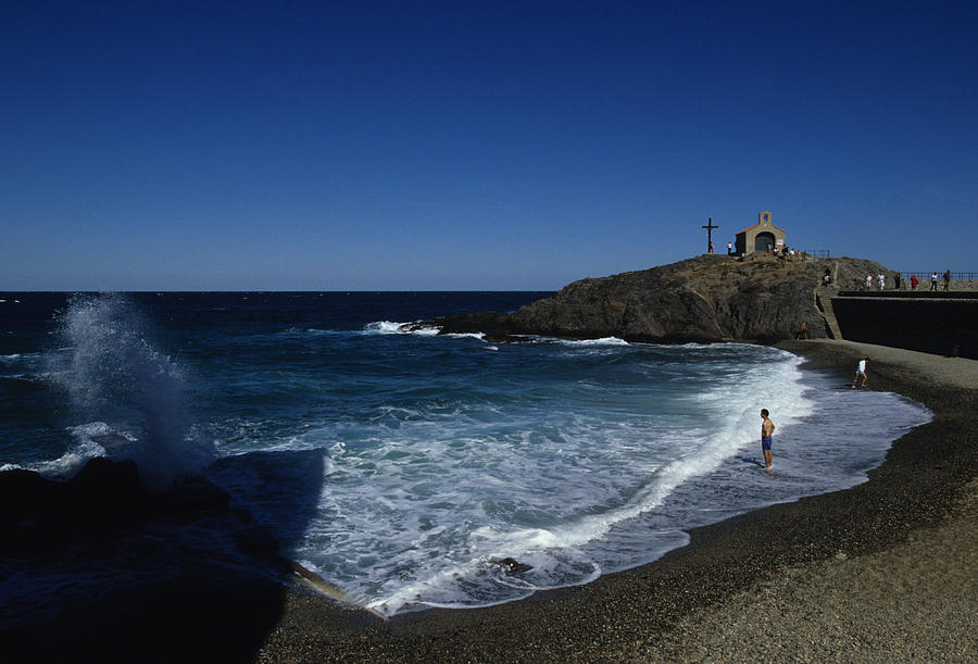 Collioure Photograph - Waves Crash Onto The Beach by Stacy Gold