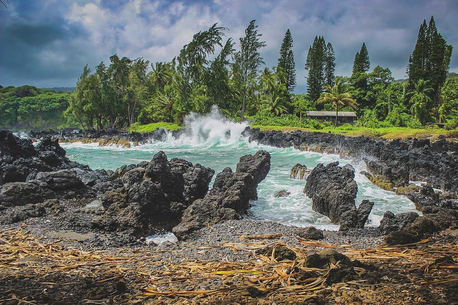 Aloha Photograph - Waves Crashing Kawee Point by Andy Konieczny