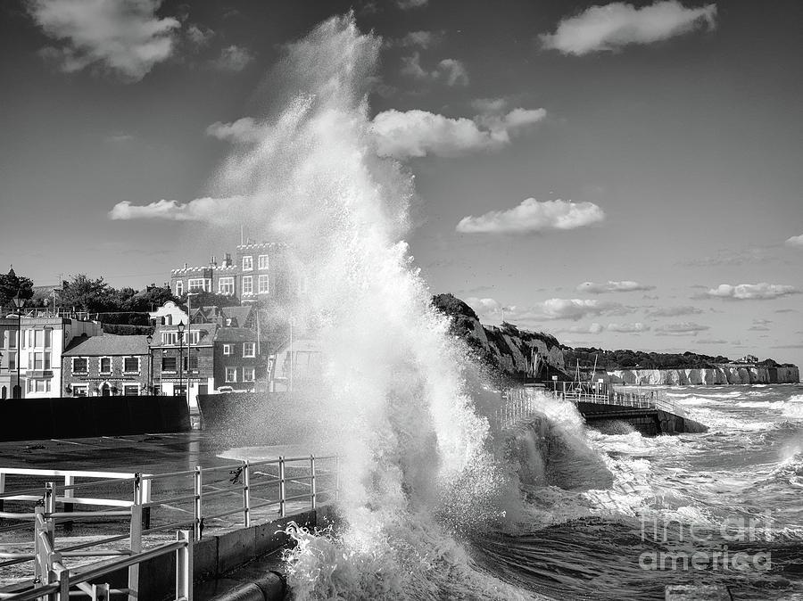 Sea Wall Photograph - Waves crashing on Broadstairs Sea Wall, Kent, England by Mark Carnaby
