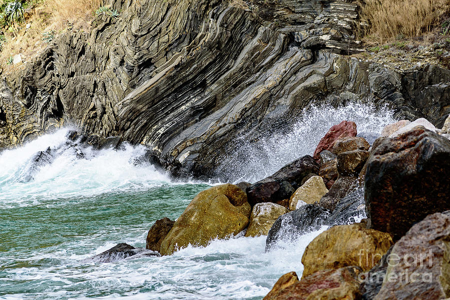 Waves Crashing On The Rocks, Vernazza, Cinque Terre, Italy by Global Light Photography - Nicole Leffer