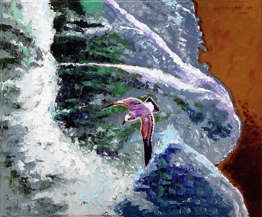 Ocean Waves Painting - Waves of Freedom by John Lautermilch
