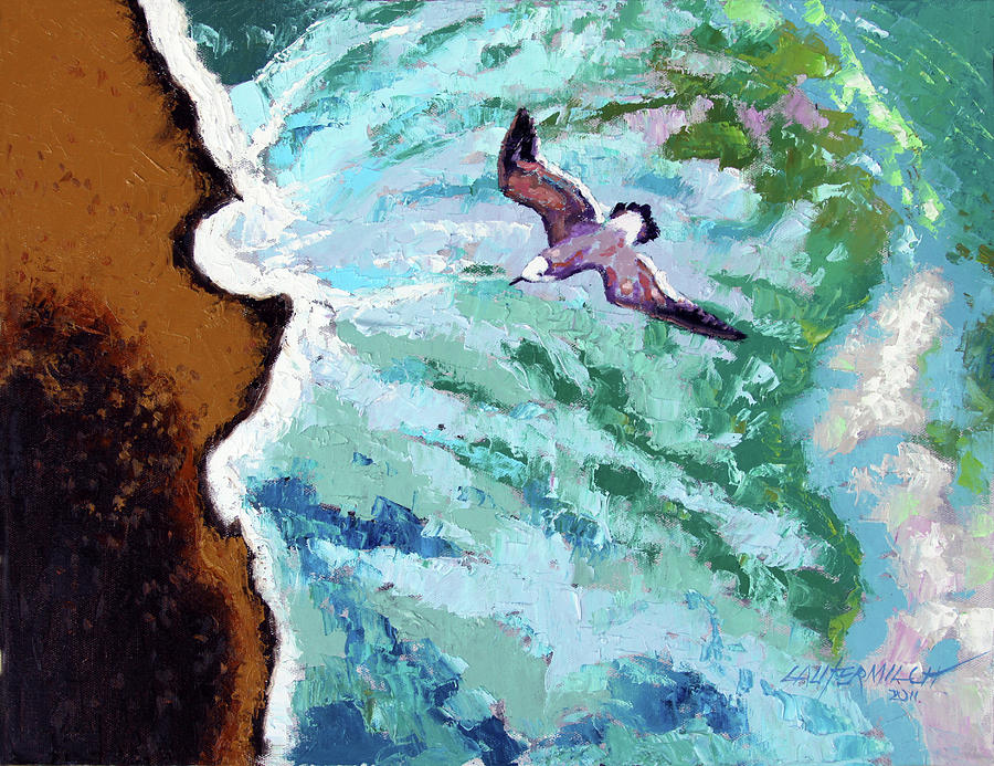 Ocean Painting - Waves of Freedom three by John Lautermilch