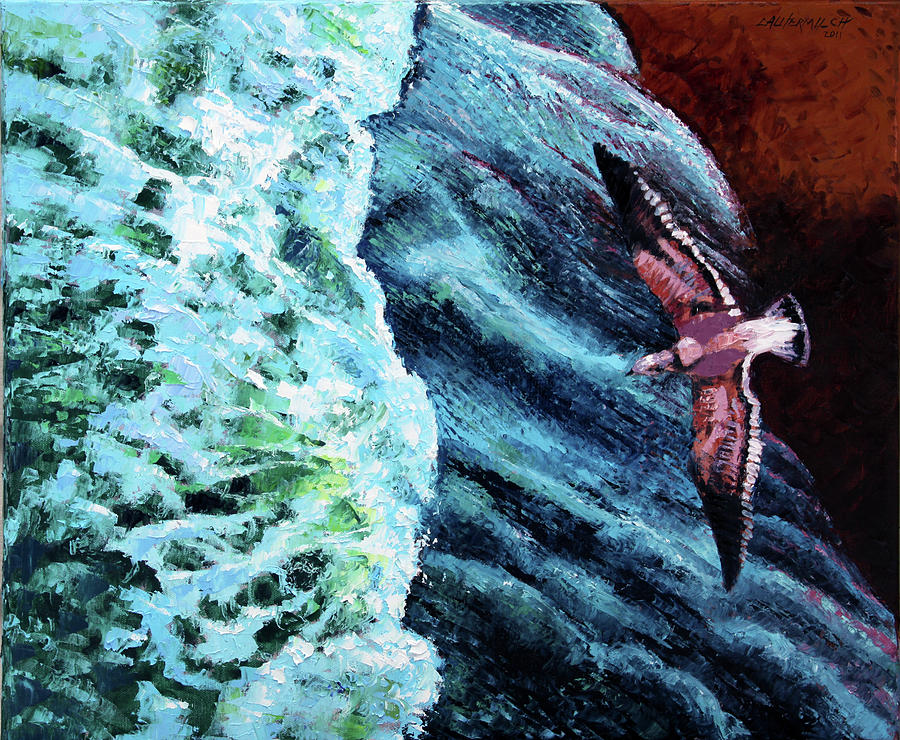 Ocean Wave Painting - Waves of Freedom two by John Lautermilch