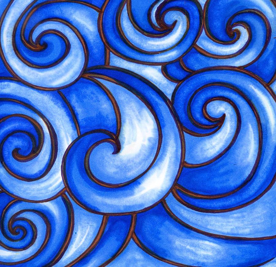 Water Painting - Waves of Mercy by Vonda Drees