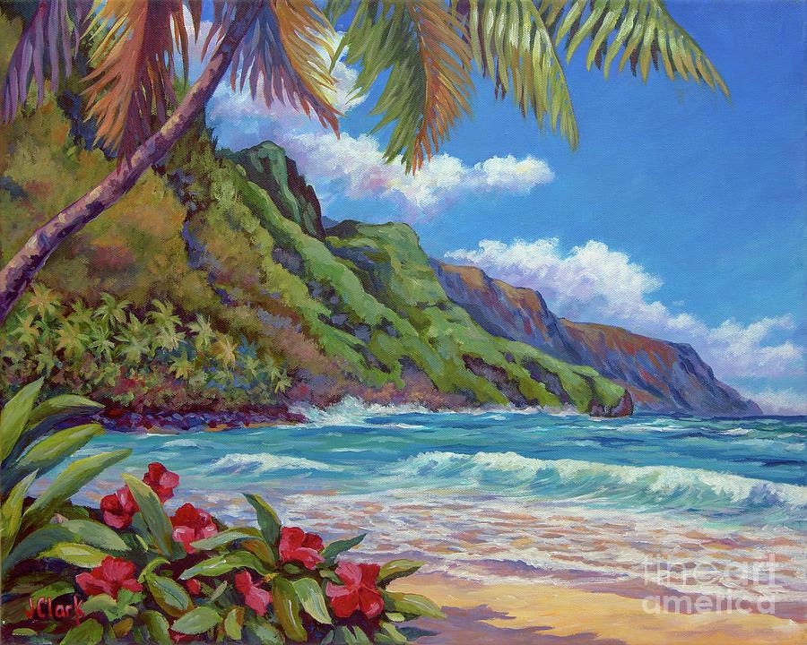 Kauai Painting - Waves On Na Pali Shore by John Clark