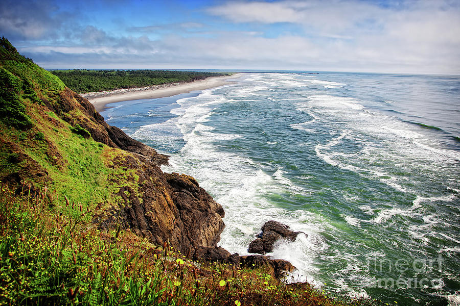 Coast Photograph - Waves On The Washington Coast by Lincoln Rogers