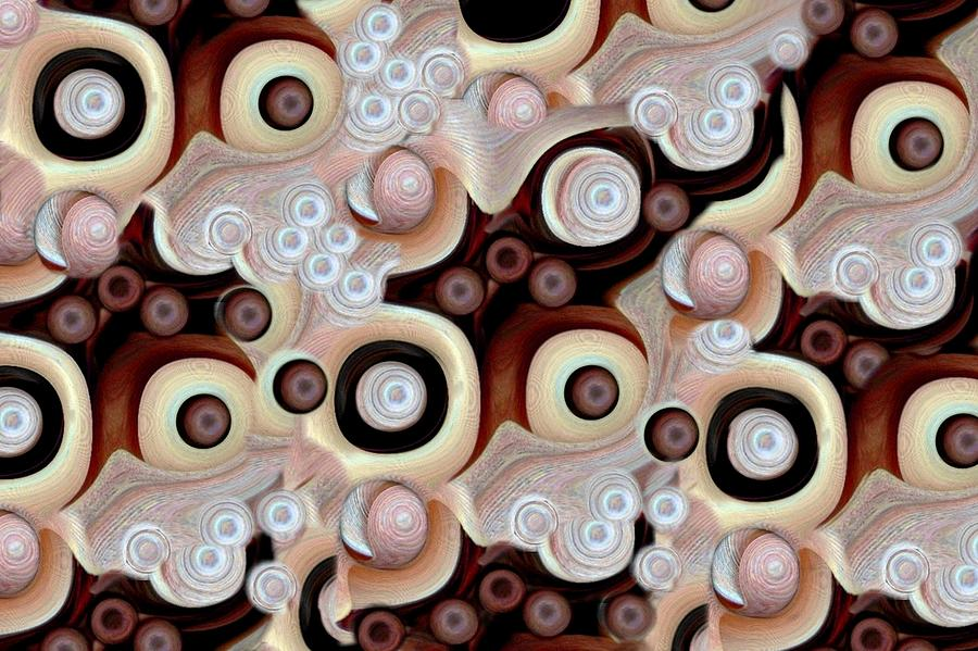 Abstract Mixed Media - Waves Seashells Foam And Stones In Brown by Jacqueline Migell