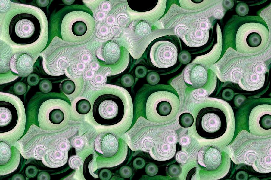 Abstract Mixed Media - Waves Seashells Foam And Stones In Green by Jacqueline Migell