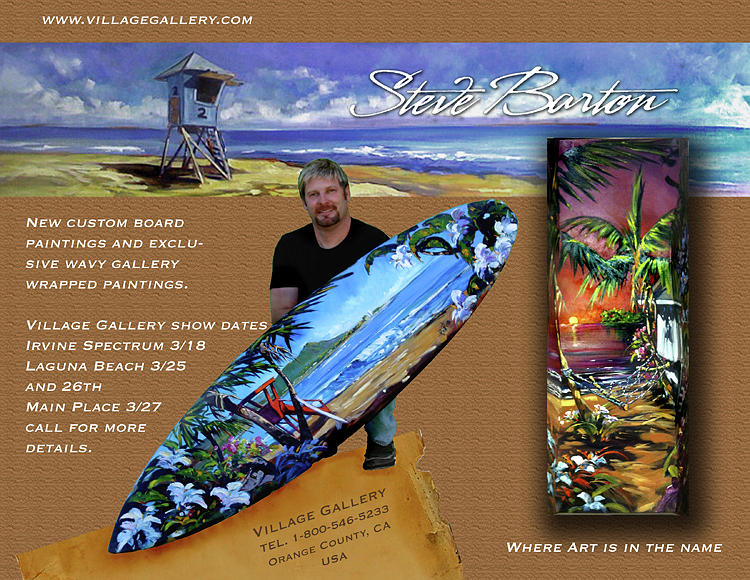 Barton Painting - Wavy Surfboard by Steve Barton