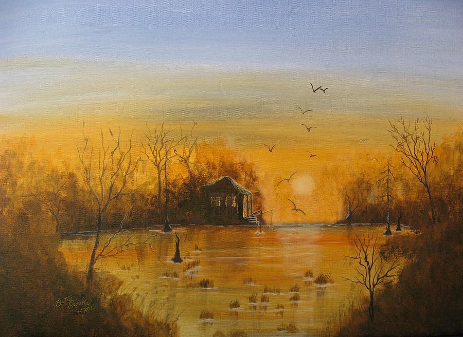 Orange Painting - Way Back by Betty Reineke