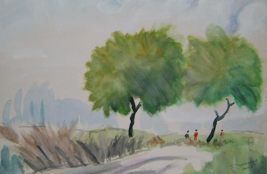 Tree Painting - Way To Field by Dharminder Pabma