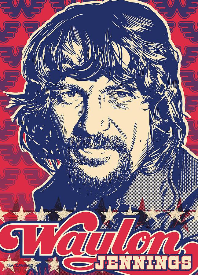 Outlaw Digital Art - Waylon Jennings Pop Art by Jim Zahniser