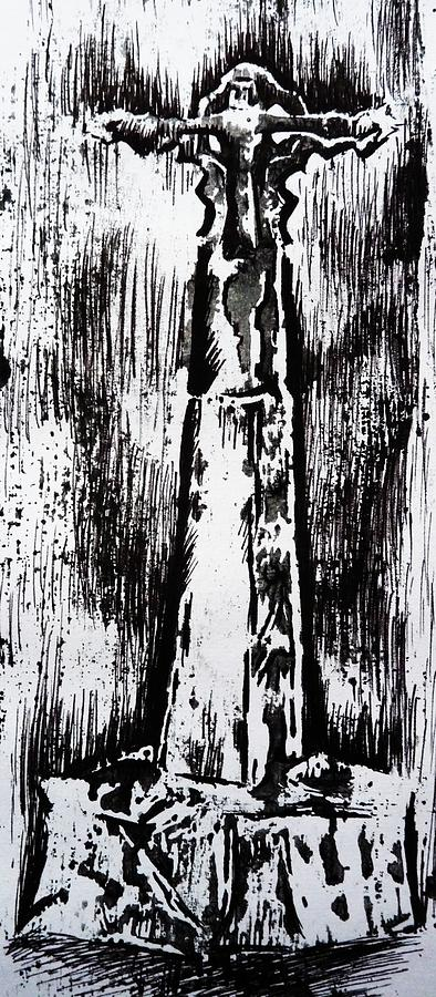 Wayside Cross Painting - Wayside Cross by Lucy Deane