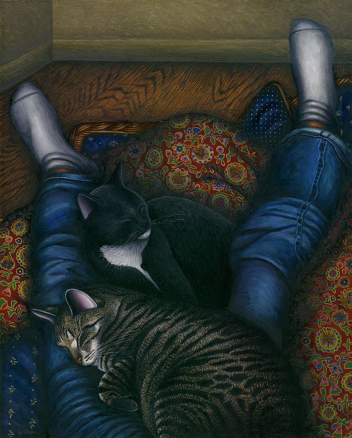 Cats Napping With Girl Painting - We 3 Nap With My Cats by Carol Wilson