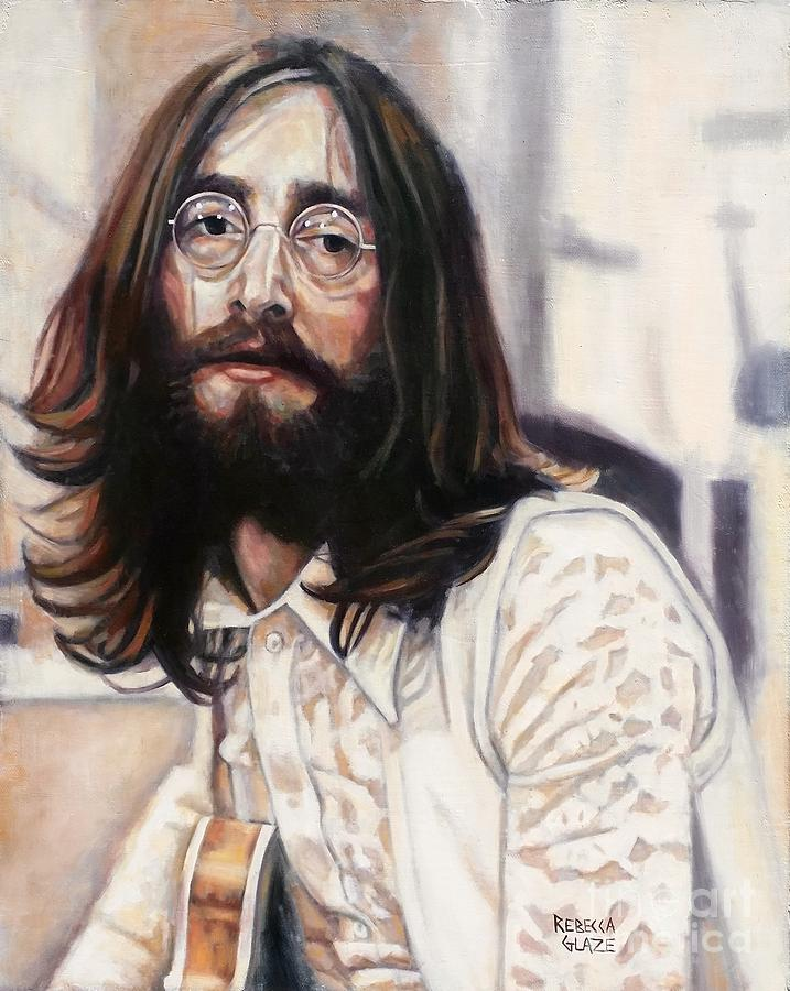 Lennon Painting - We All Shine On by Rebecca Glaze