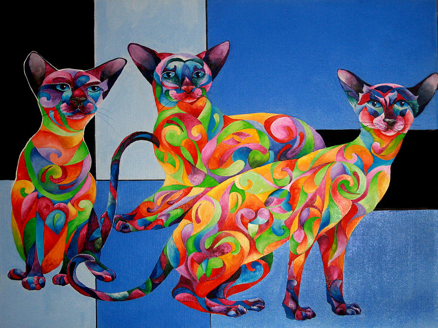 Cat Painting - We Are Siamese If You Please by Sherry Shipley