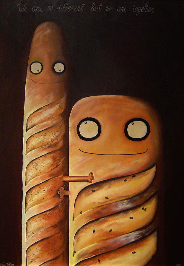 Baguettes Painting - We Are So Different But We Are Together by Anastassia Neislotova