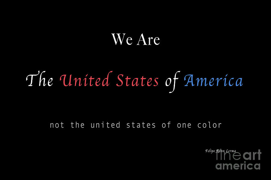 Patriotic Photograph - We Are the United States of America by Felipe Adan Lerma