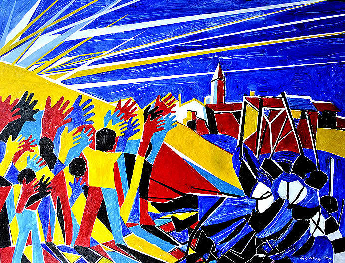 Nancy Rourke Painting - We Came We Saw We Conquered by Nancy Rourke