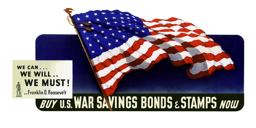 American Flag Painting - We Can - We Will - We Must  by War Is Hell Store