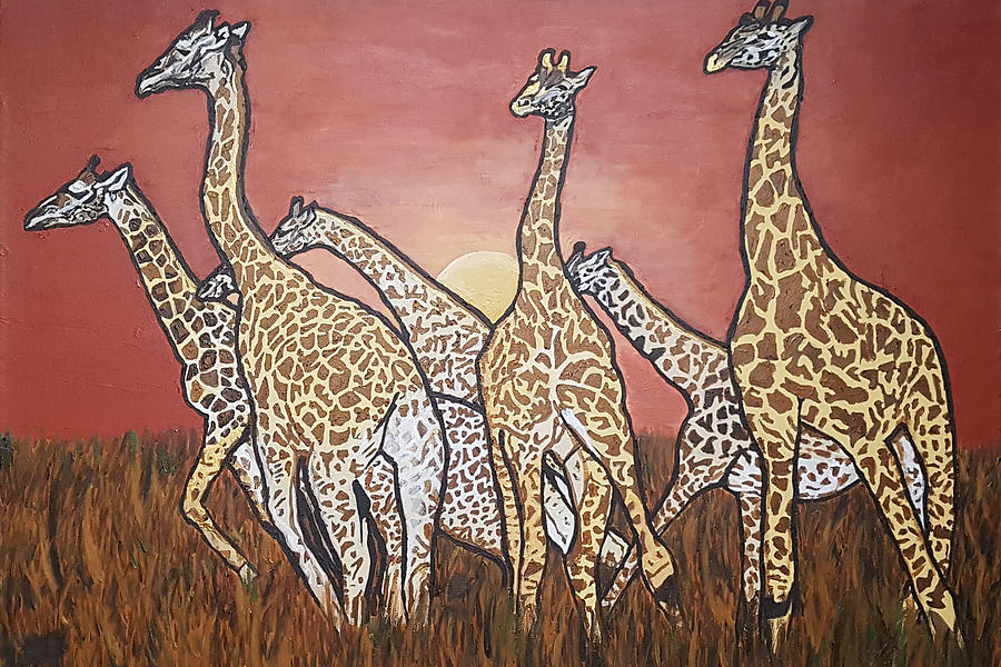 Giraffes Painting - We Jammin Still by Rachel Natalie Rawlins