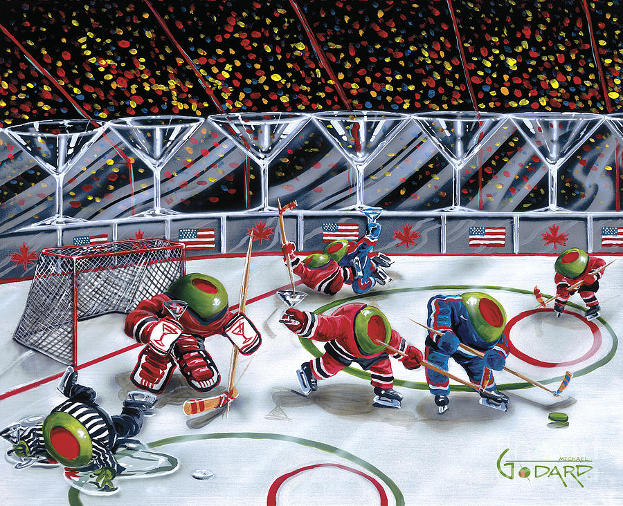 Toothpicks Painting - We Olive Hockey by Michael Godard