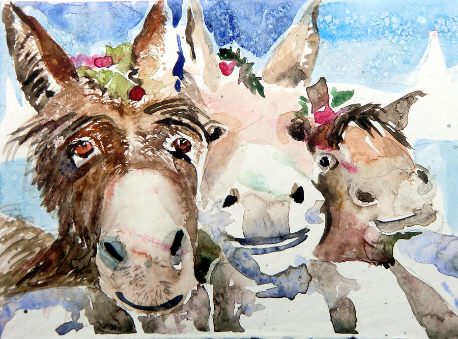 Christmas Painting - We Three Wise Asses by Mindy Newman