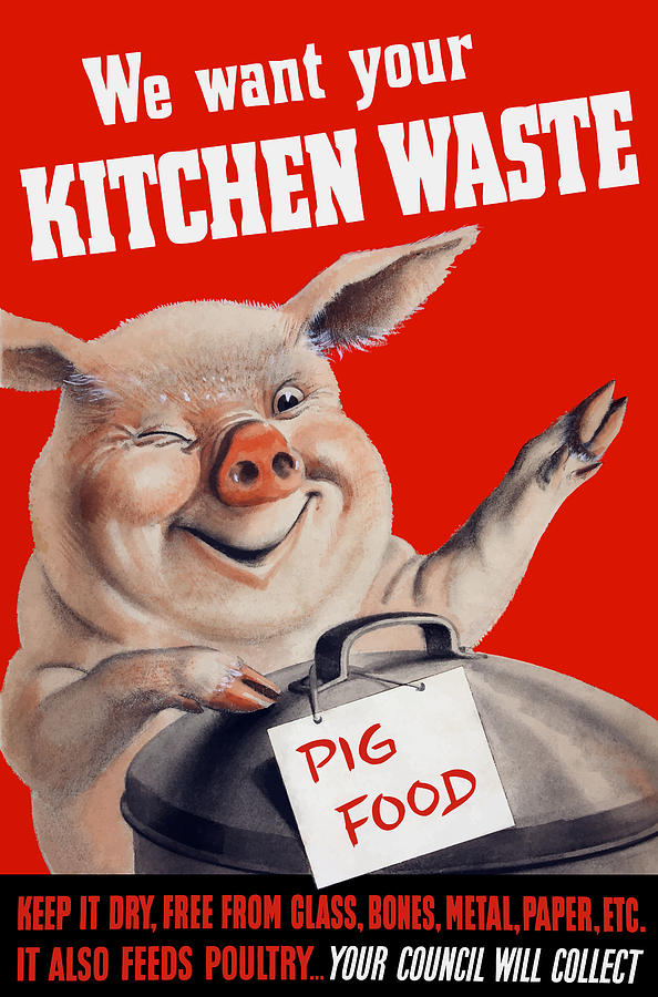 Pig Painting - We Want Your Kitchen Waste Pig  by War Is Hell Store