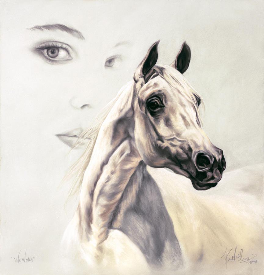 White Arabian Pastel - We Watch by Kim McElroy
