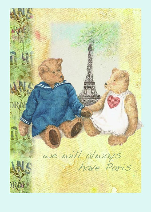 We Will Always Have Paris Whimsical Bears by Judith Cheng