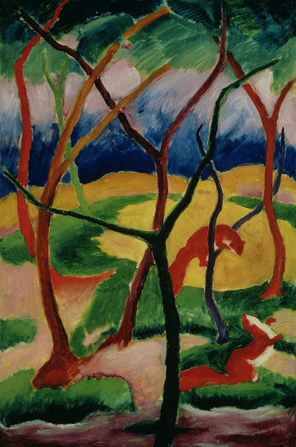 Weasels Painting - Weasels Playing by Franz Marc