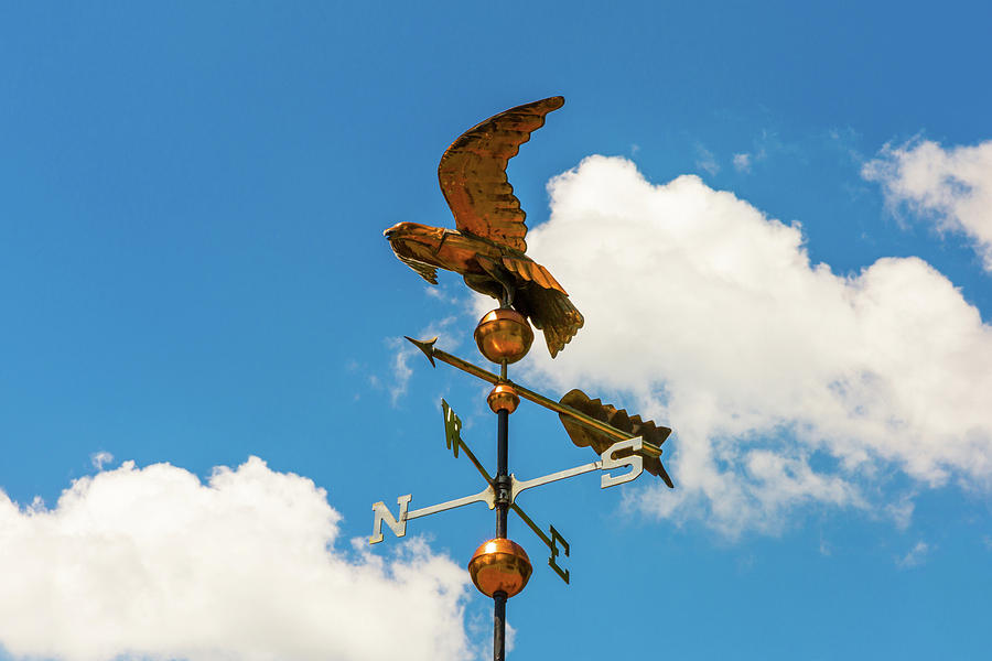 Weather Vane Photograph - Weather Vane On Blue Sky by D K Wall