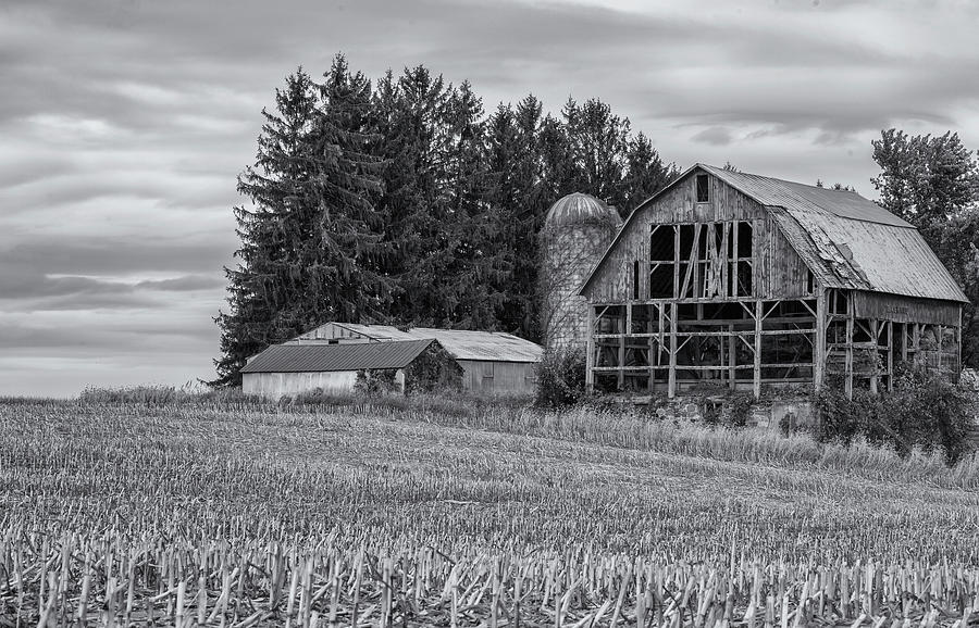 weathered barn black and white photograph by greg thiemeyer