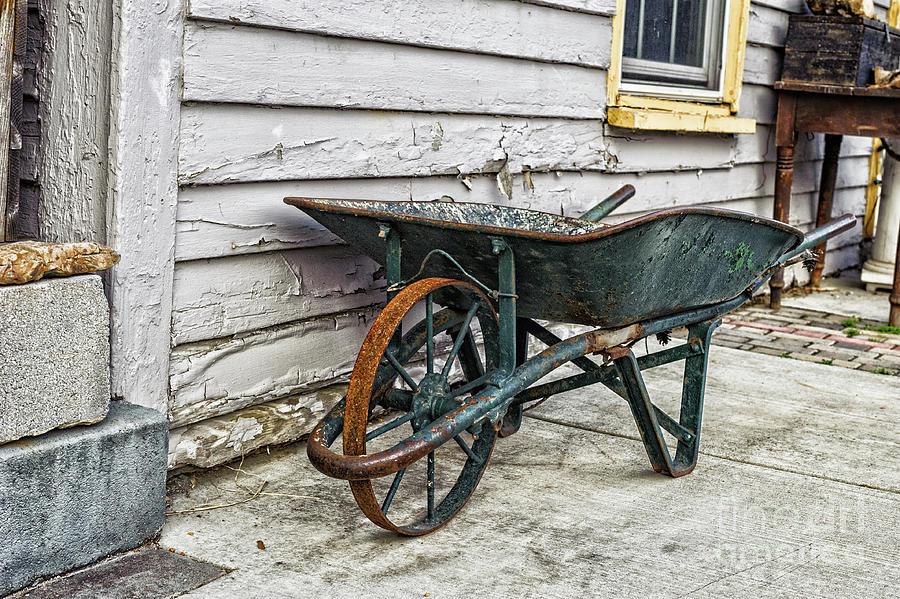 Orange Photograph - Weathered Green Wheelbarrow by Mary Raderstorf