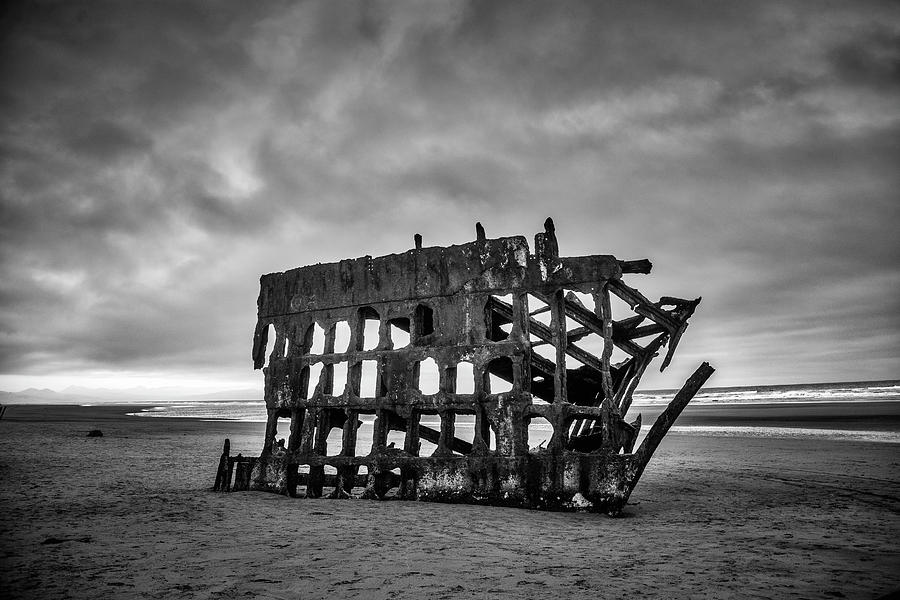 Rusty Photograph - Weathered Rusting Shipwreck In Black And White by Garry Gay