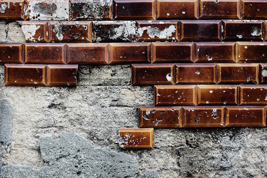 Weathered Tile Wall Photograph