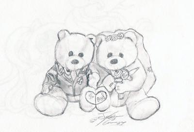 Wedding Drawing - Wedding Bears by Thomas Case