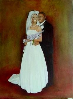 Oil Portrait Painting - Wedding Couple by Jim Denny