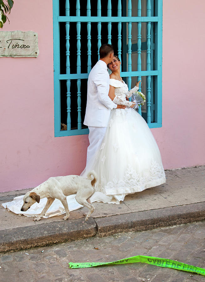Wedding Couple with Dog Havana Cuba by Charles Harden